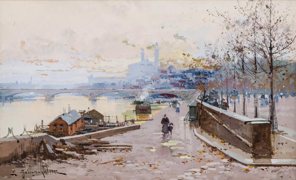 EUGENE GALIEN-LALOUE, French (1854-1941), On the River Bank, Paris, Paris Street Scene, (A Pair), watercolor and gouache on paper, (a) 7 1/2 x 12 inches (sight) (b) 9 3/4 x 14 3/4 inches