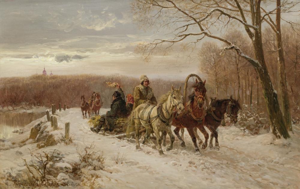 FRITZ VAN DER VENNE, German (1873-1936), Sleigh Ride, oil on canvas, 26 3/4 x 41 3/4 inches