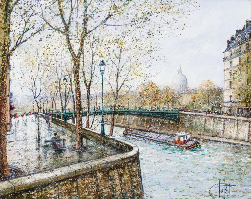 """GUY DESSAPT, French (1938), """"Le Pont, St. Louis"""", oil on canvas, 24 x 30 inches"""