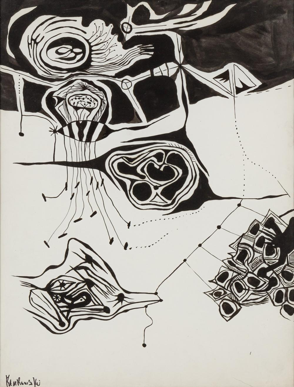 GEROME KAMROWSKI, American (1914-2004), Untitled, ink on paper, 24 1/2 x 18 5/8 inches (sight)