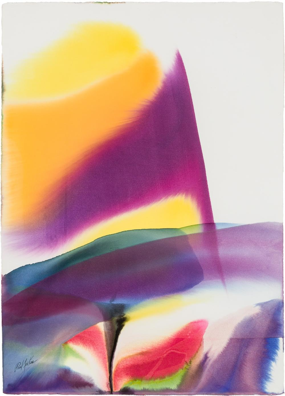 PAUL JENKINS, American (1923-2012), Untitled, watercolor on Arches paper, 41 1/2 x 30 inches