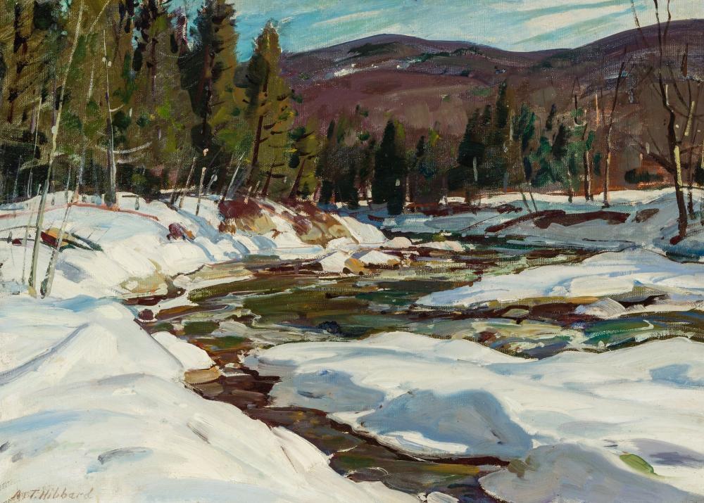 "ALDRO THOMPSON HIBBARD, American (1886-1972), ""March Brook"", oil on canvasboard, 18 x 25 inches"