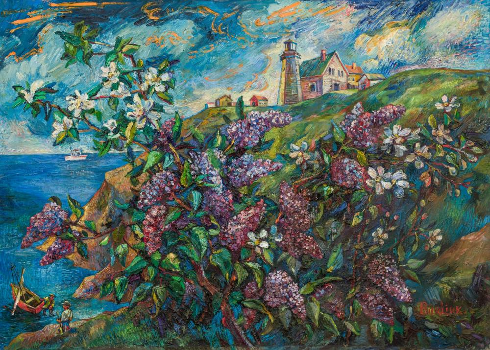 DAVID BURLIUK, Russian (1882-1967), Lighthouse on the Hill with Lilacs, oil on canvas, 30 x 42 inches