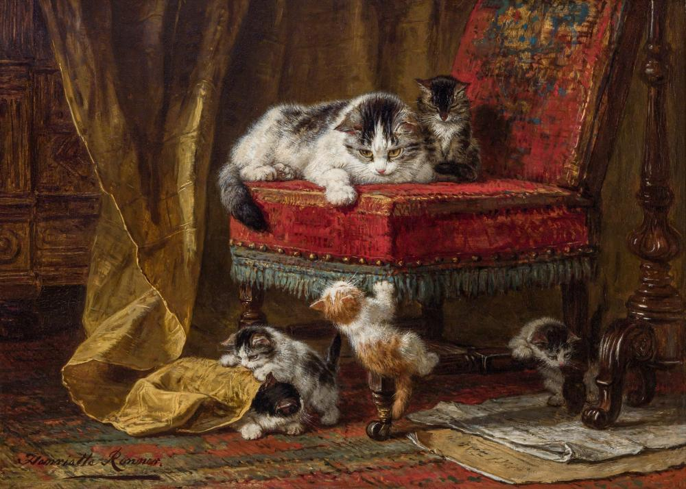 HENRIETTE RONNER-KNIP, Dutch (1821-1909), Mother's Pride, oil on panel, 13 x 17 3/4 inches