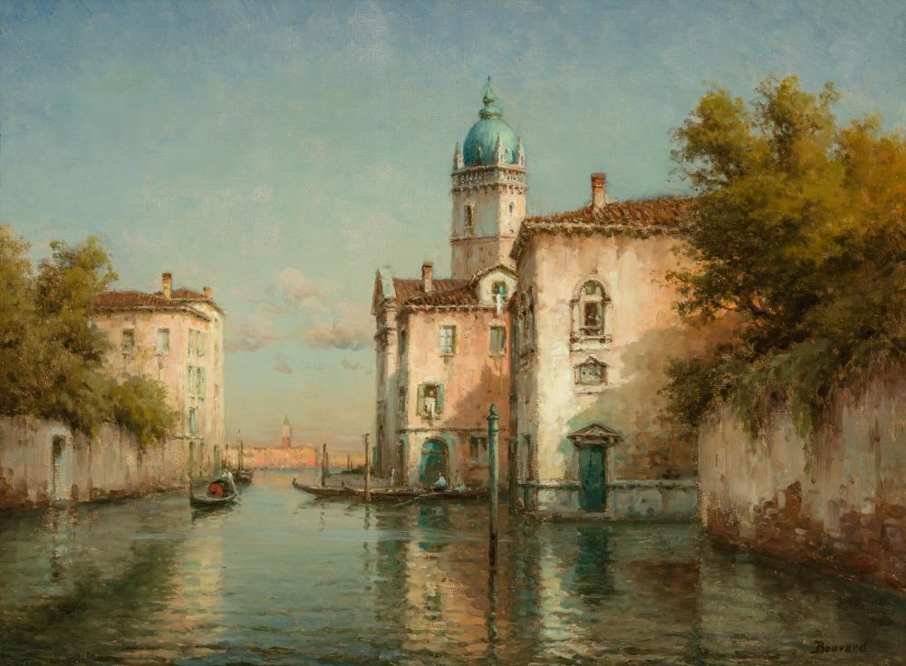 ANTOINE BOUVARD, French (1870-1956), A Venetian Canal Scene, oil on canvas, 18 x 24 inches