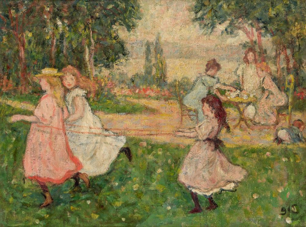 """GEORGES D'ESPAGNAT, French (1870-1950), """"Enfants Jouent aux Guides"""", oil on canvas, 18 1/4 x 24 1/4 inches"""