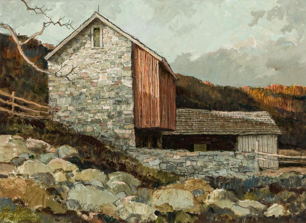 ERIC SLOANE, American (1905-1985), Barn on the Bank, oil on masonite, 17 x 23 inches