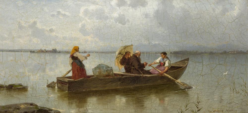 JOSEPH WOPFNER, Austrian (1843-1927), Abendandacht auf dem Chiemsee, oil on canvas, 10 3/4 x 22 1/2 inches