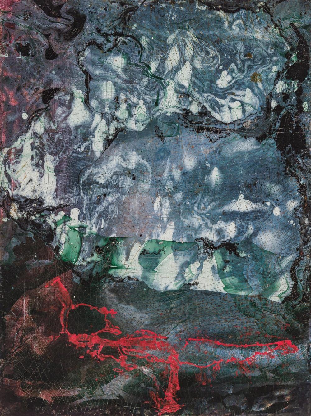 "GEROME KAMROWSKI, American (1914-2004), ""Flottant"", enamel on canvasboard, 24 x 18 inches"