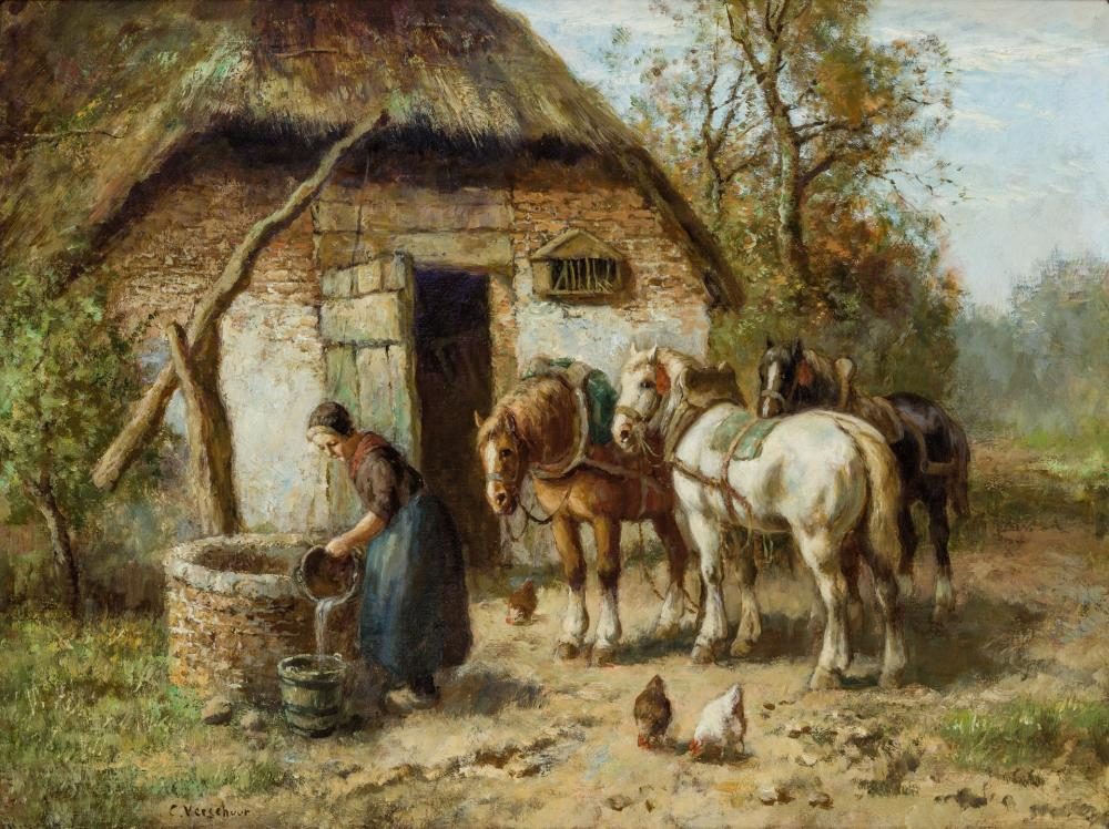 CORNELIS WOUTER BOUTER, Dutch (1888-1966), At the Well, oil on canvas, 24 x 32 inches