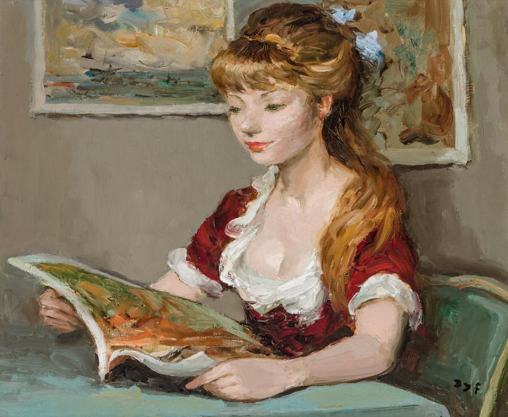 """MARCEL DYF, French (1899-1985), """"Fille Lisant"""", oil on canvas, 18 x 21 1/2 inches"""