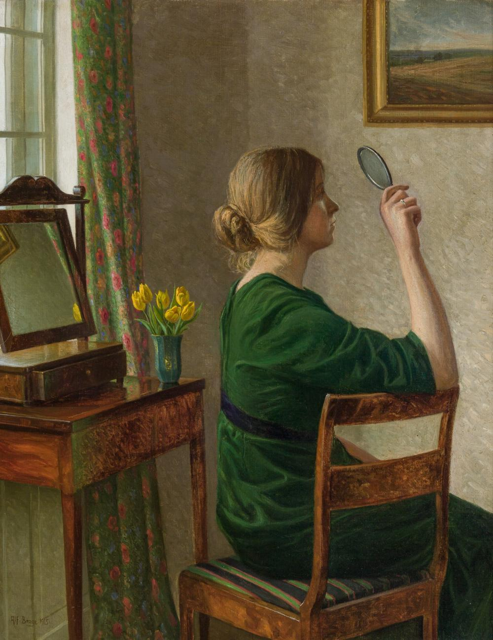 ALFRED BROGE, Danish (1870-1955), Reflections, 1915, oil on canvas, 27 x 21 inches