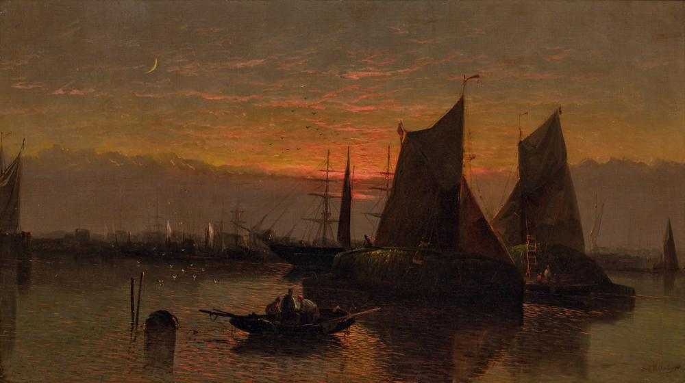 SYDNEY A. MULHOLLAND, British (19th Century), Hay Barges on the Thames River, oil on canvas, 24 x 42 inches