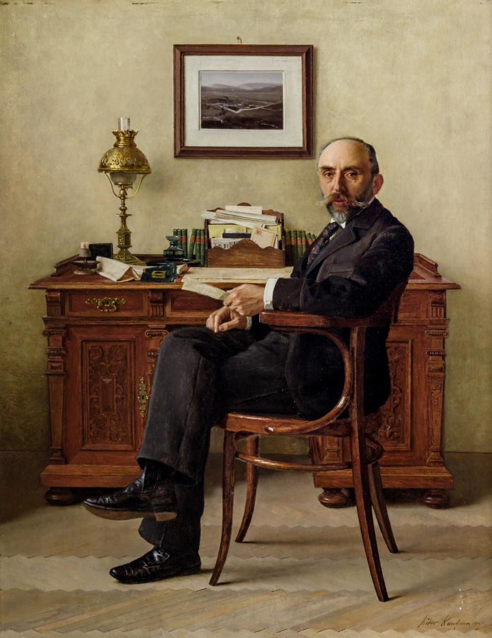 ISIDOR KAUFMANN, Austrian / Hungarian (1853-1921), Portrait of a Banker, oil on panel, 19 x 14 1/2 inches