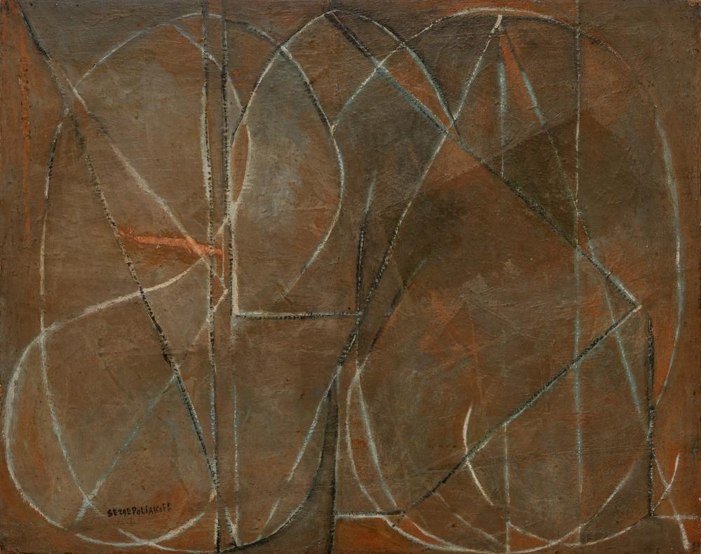 """SERGE POLIAKOFF, Russian (1906-1969), """"Peinture,"""" 1946, oil on canvas, 28 x 35 inches"""