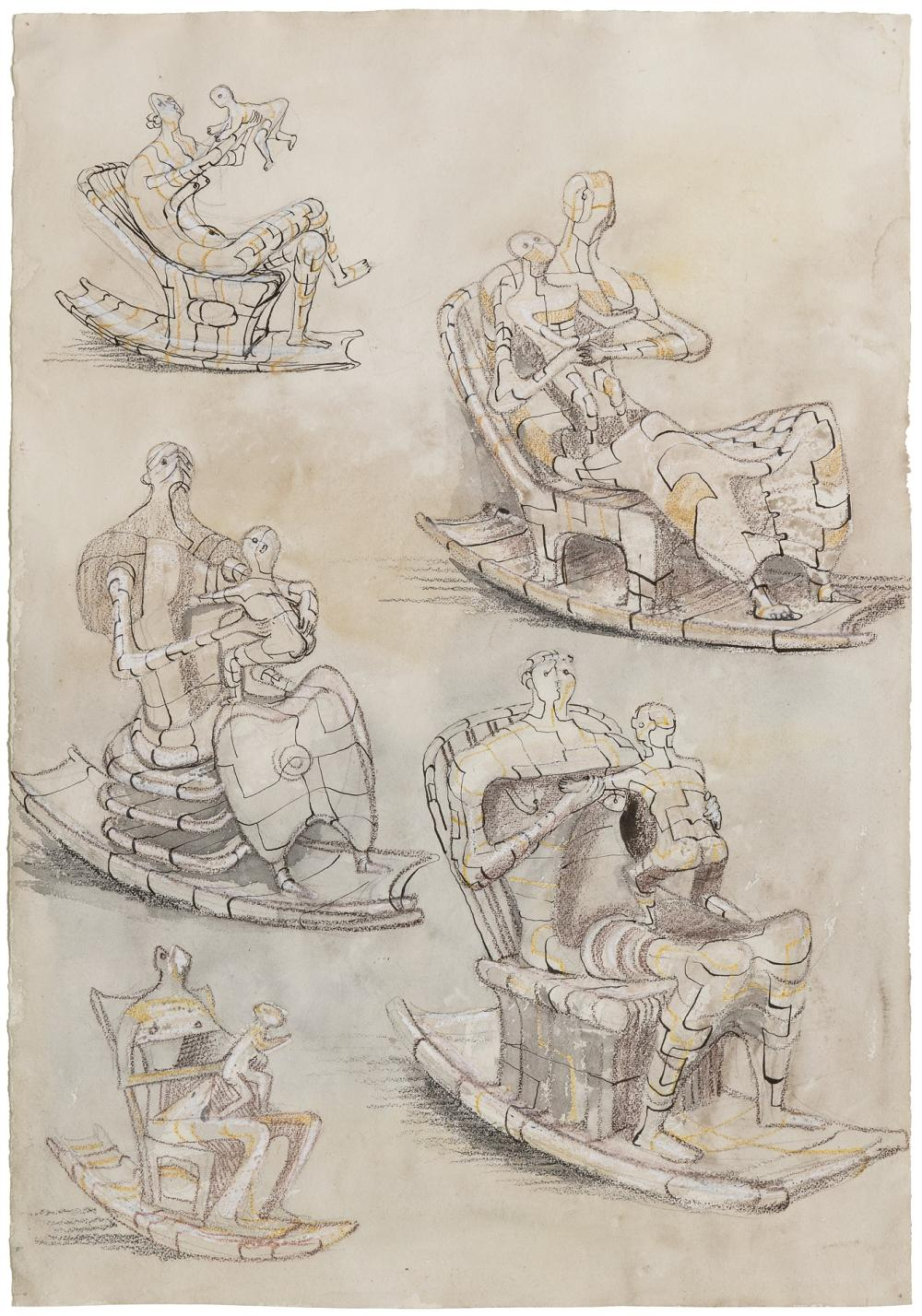 """HENRY MOORE, British (1898-1986), """"Rocking Chairs,"""" 1948, pencil, wax crayon, watercolor wash, pen and ink on paper, 22 1/2 x 15 1/2 inches"""