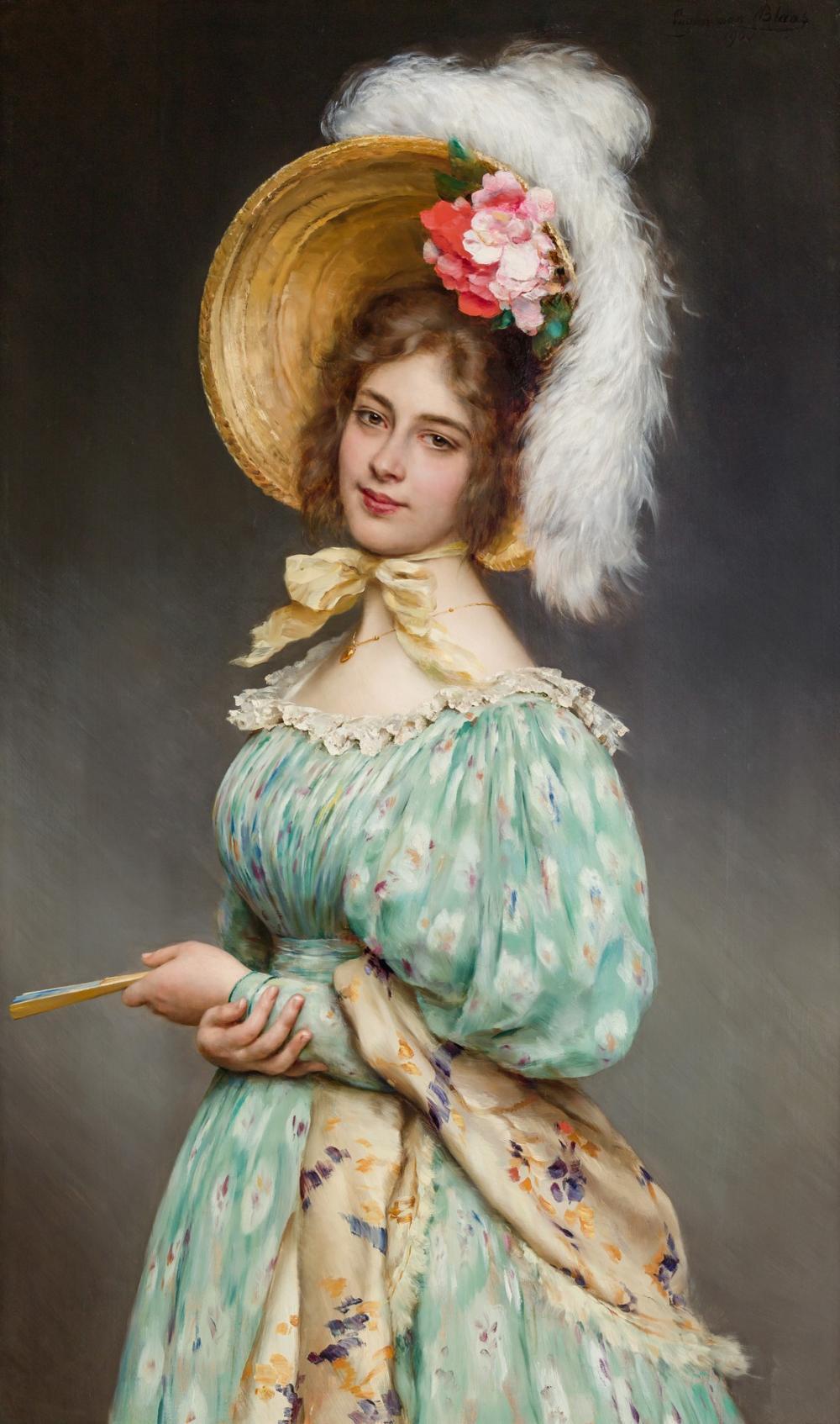 "EUGENE VON BLAAS, Italian / Austrian (1843-1932), ""Musette,"" 1900, oil on panel, 50 x 29 3/4 inches"