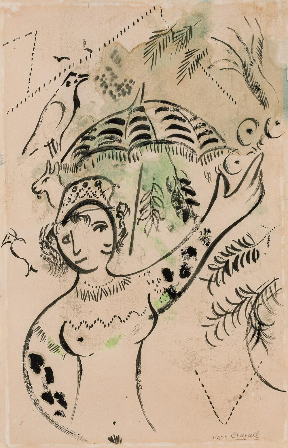 """MARC CHAGALL, Russian/French (1887-1985), """"L'Ombrelle"""" (The Parasol), 1939, India ink and gouache on paper, 11 1/2 x 17 3/4 inches"""