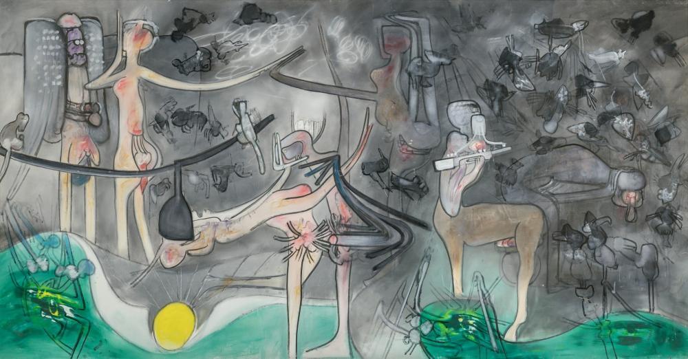 ROBERTO MATTA, Chilean (1911-2002), Untitled, 1965, oil on canvas, 78 x 149 1/4 inches