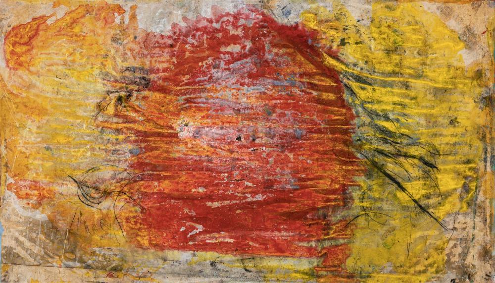 "JAMALI, Pakistani (b. 1947), ""Life Energy"", pigment on cork, 55 x 96 inches"