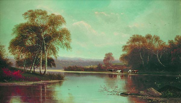 CLINTON LOVERIDGE American (1824-2902) Tranquil River oil on canvas, 14 x 24, signed lower right and dated 1872.