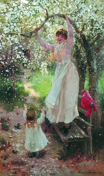 HAMILTON HAMILTON American (1847-1928) Falling Apple Blossoms oil on canvas, 30 x 18, signed lower right and inscribed N.A.