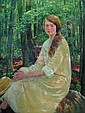 HOWARD LOGAN HILDEBRANDT American (1872-1958) Seated Near the Woods oil on canvas, 48 x 36, signed lower right and dated 1924. Provenance: A New York estate., Howard Logan Hildebrandt, Click for value