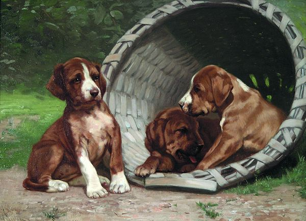 JOHN HENRY DOLPH American (1835-1903) A Basket of Puppies oil on canvas, 18 x 24, signed lower left. Provenance: Private collection, New York State.