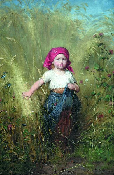 HEINRICH HIRT German (1841-1902) Young Peasant Girl oil on canvas, 17 3/4 x 12, signed lower left. Provenance: Private collection, Newport, Rhode Island.