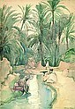 ELIZABETH NOURSE American (1859-1938) At the Oasis, Algers watercolor laid down on board, 19 1/4 x 13 1/2 (sight), signed lower right. Provenance: Private collection, Cheshire, Connecticut., Elizabeth Nourse, Click for value