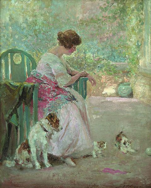 JOSEPH W. GIES American (1860-1935) Playful Pets oil on board, 20 x 15 1/2, signed lower right. Provenance: Private collection New York State.