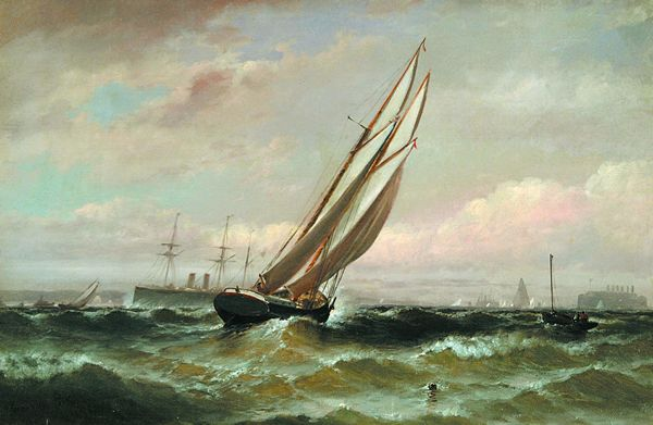 GRANVILLE PERKINS American (1830-1895) Sailing in New York Harbor oil on canvas, 12 x 18, signed lower left and dated 1894.