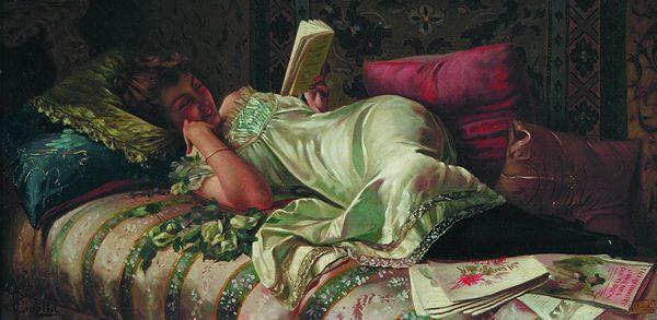 FABIO CIPOLLA Italian (b. 1854) A Good Book oil on canvas, 10 1/2 x 20 3/4, signed lower left.