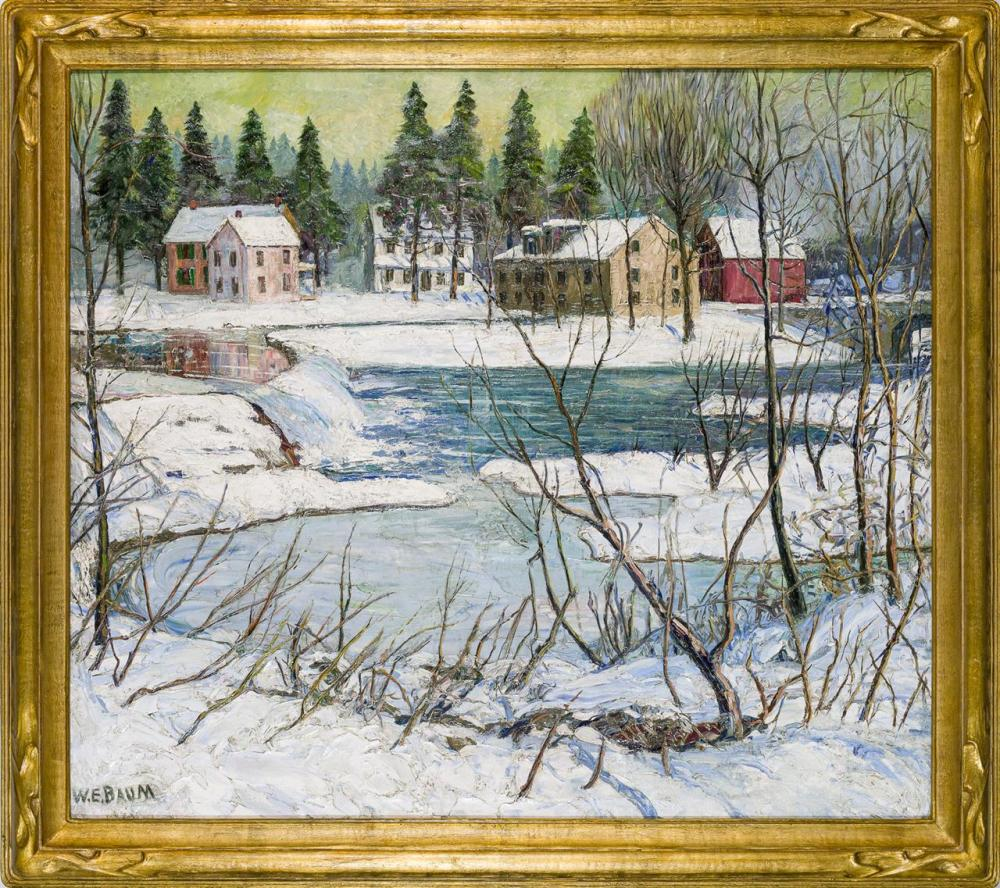 """WALTER EMERSON BAUM, American (1884-1956), """"Pine Trees in Winter"""", oil on canvas, signed lower left """"W. E. Baum,"""" titled on the reve..."""