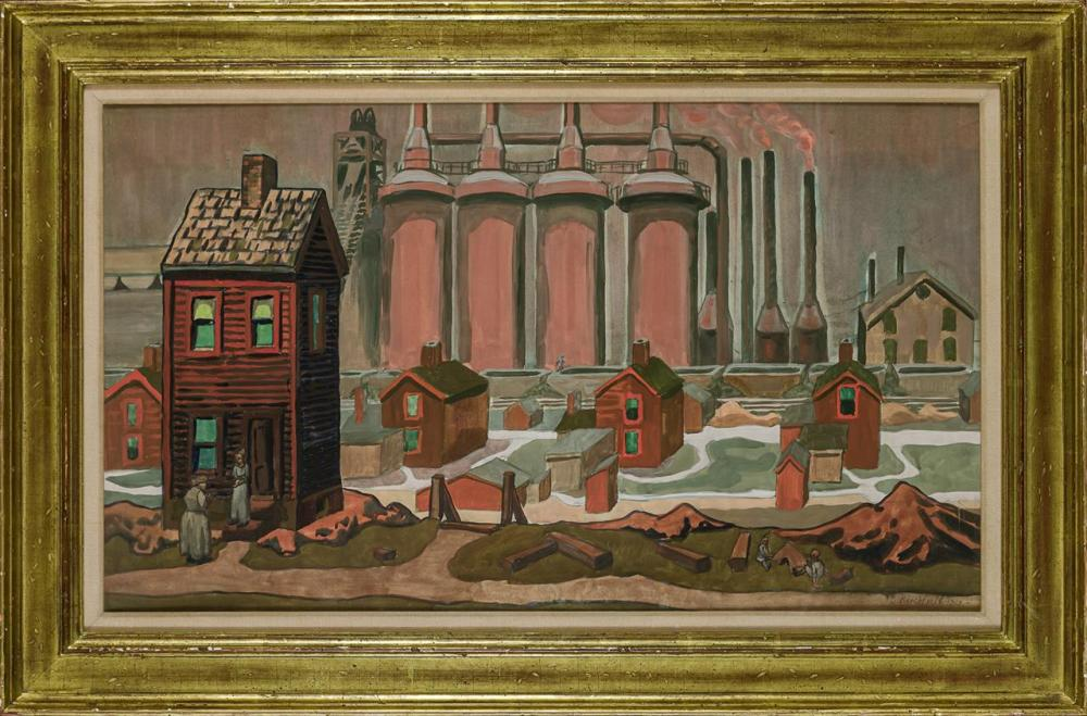 """CHARLES BURCHFIELD, American (1893-1967), Steel Mill Homes (Blast Furnace), watercolor on paper, signed and dated lower right """"C. Bu..."""