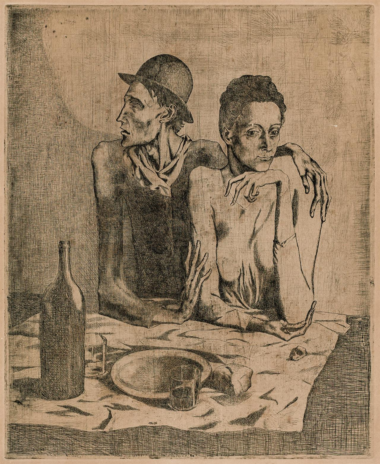 """PABLO PICASSO, Spanish (1881-1973), """"Le Repas Frugal,"""" 1904 from """"La Suite des Saltimbanques"""", etching with drypoint on Van Gelder Z..."""