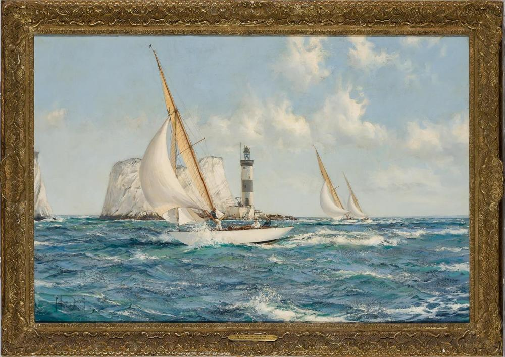 """MONTAGUE DAWSON, British (1890-1973), The Needles (Passing the Lighthouse), oil on canvas, signed """"Montague Dawson"""" lower left, 24 x..."""