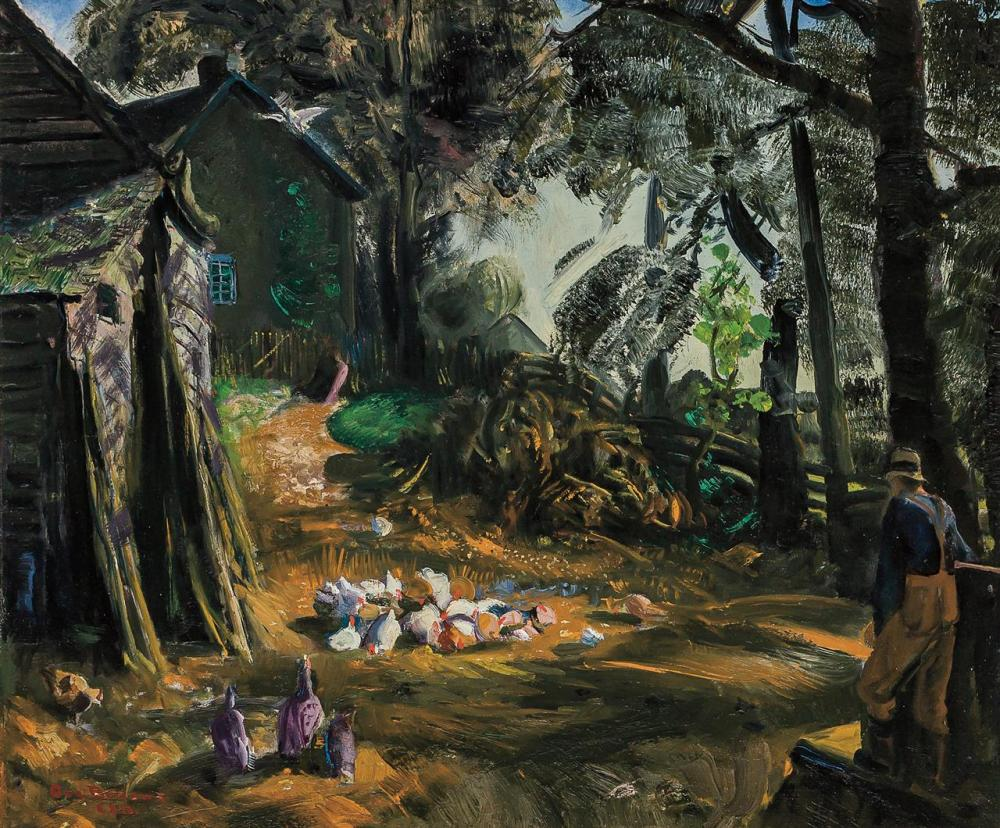 """GEORGE BELLOWS, American (1882-1925), """"Farmer and Chickens,"""" Woodstock, October 1922, oil on panel, signed by the artist's wife (Emi..."""