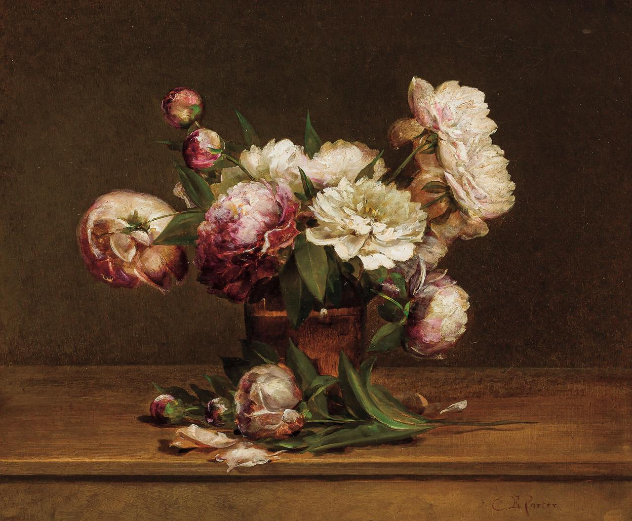 """CHARLES ETHAN PORTER, American (1847-1923), Peonies, oil on canvas, signed lower right """"C.E. Porter"""", 20 x 24 inches"""