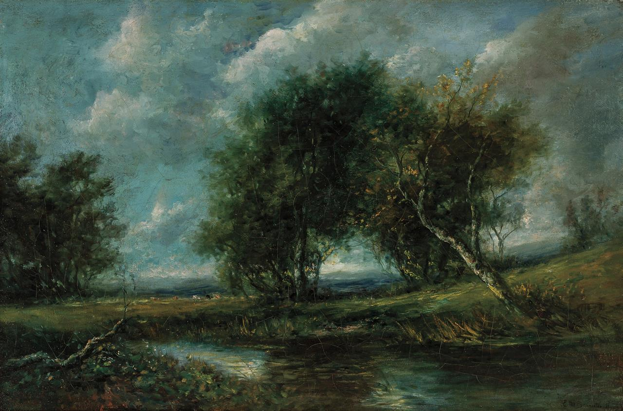 """EDWARD BANNISTER, American (1828-1901), Landscape with Trees, oil on canvas, signed and dated lower right """"E.M. Bannister 91"""", 20 x..."""