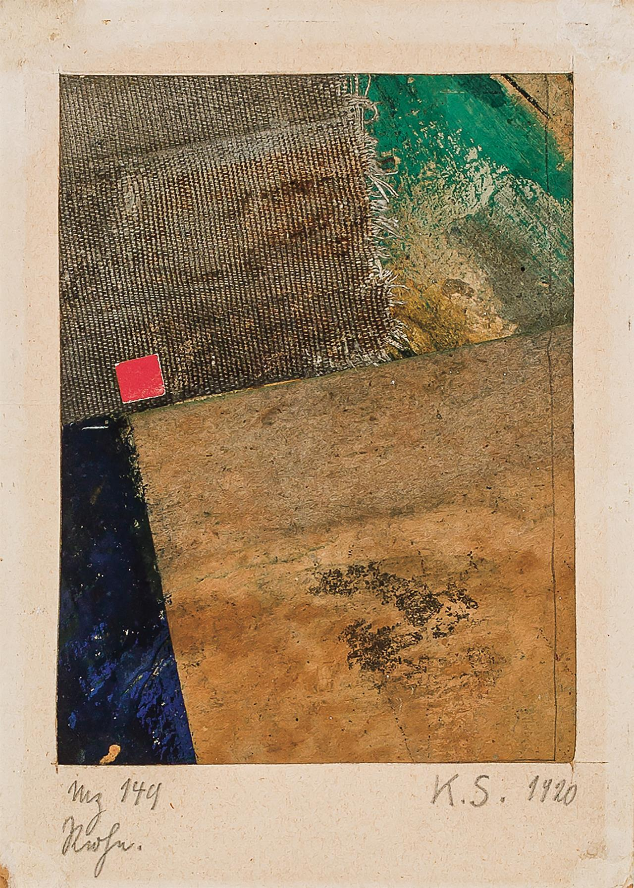 """KURT SCHWITTERS, German (1887-1948), """"Merz 149"""", collage, signed and dated lower right """"K.S. 1920, titled """"Mz 149""""and inscribed lowe..."""