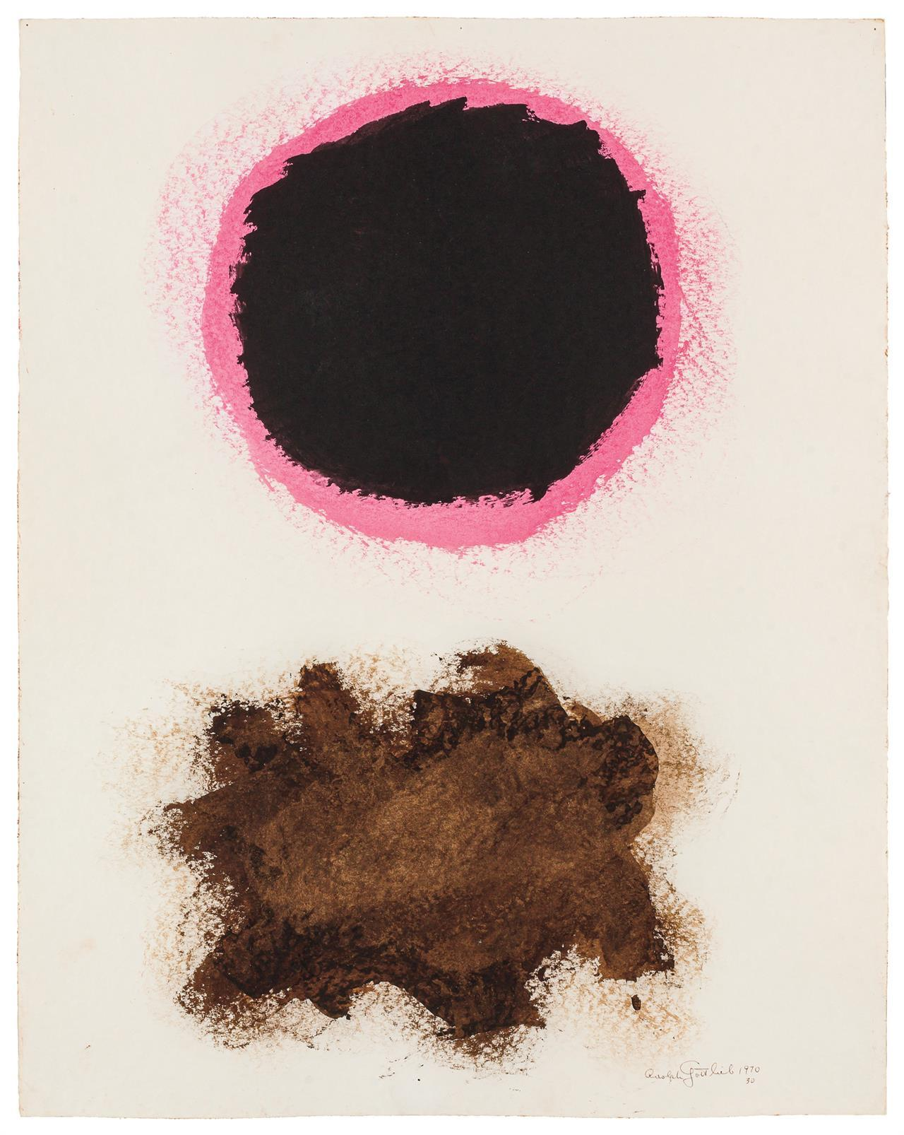 """ADOLPH GOTTLIEB, American (1903-1974), Untitled, #30, 1970, acrylic on paper, signed, dated and numbered lower right """"Adolph Gottlie..."""