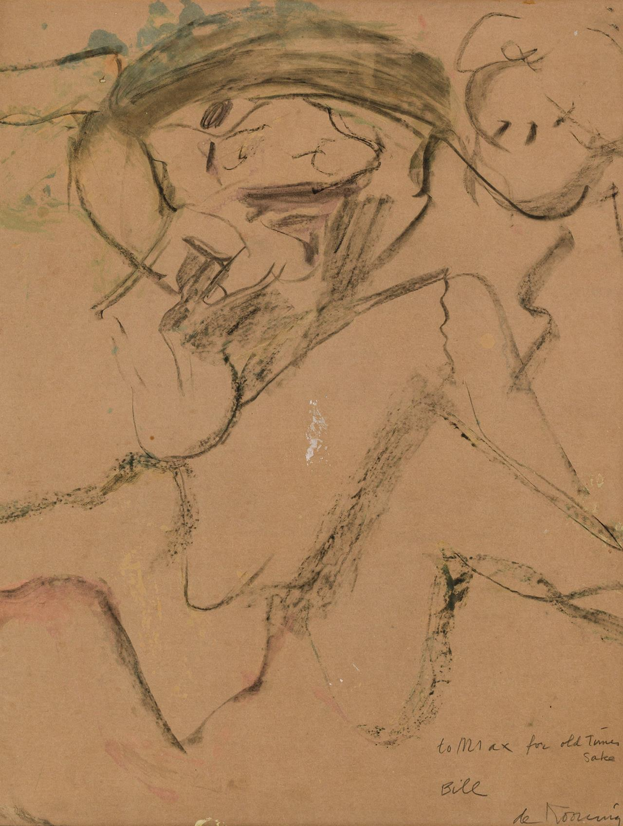 WILLEM DE KOONING, American/Dutch (1904-1997), Woman, ca. 1954-1974, oil, charcoal and gouache on paper laid down on canvas, signed...