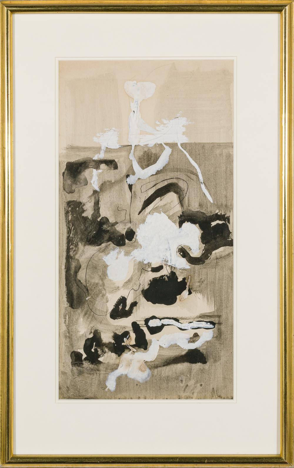 MARK ROTHKO, American (1903-1970), Untitled, c. 1948, brush and black ink, watercolor and gouache on paper, embossed with the artist...