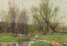 "HUGH BOLTON JONES, American (1848-1927), A Meadow Stream, oil on canvas laid down on masonite, signed lower right ""H. Bolton Jones"",..."