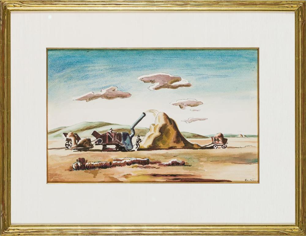 "THOMAS HART BENTON, American (1889-1975), ""Threshing Rice"", ca. 1920, watercolor on paper, signed lower right ""Benton"", 12 x 19 1/8..."