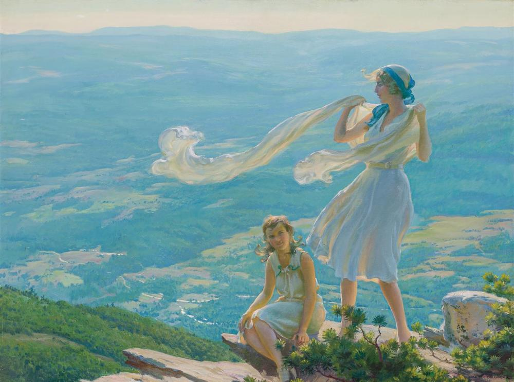 """CHARLES COURTNEY CURRAN, American (1861-1942), """"Wind on the Cliff"""", oil on canvas board, signed and dated lower right """"Charles C. Cu..."""