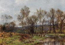 "HUGH BOLTON JONES, American (1848-1927), Late Autumn, oil on canvas, signed lower left ""H. Bolton Jones"", 24 x 34 inches"