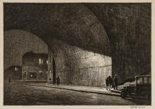 MARTIN LEWIS, American (1881-1962), Arch, Midnight, 1930, drypoint on paper, signed in plate lower left, signed in pencil lower righ...