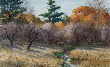 """AIDEN LASSELL RIPLEY, American (1896-1969), """"Woodcock Shooting: Woods and Meadow Brook"""", watercolor and gouache on paper, signed low..."""